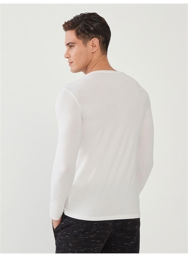 MCL MCL V Yaka Pamuklu Uzun Kollu Slim Fit Basic Tişört Beyaz